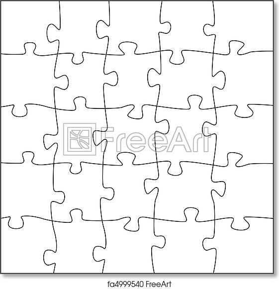 graphic regarding Printable Puzzle Template identify Absolutely free artwork print of 5x5 jigsaw puzzle template - abnormal components