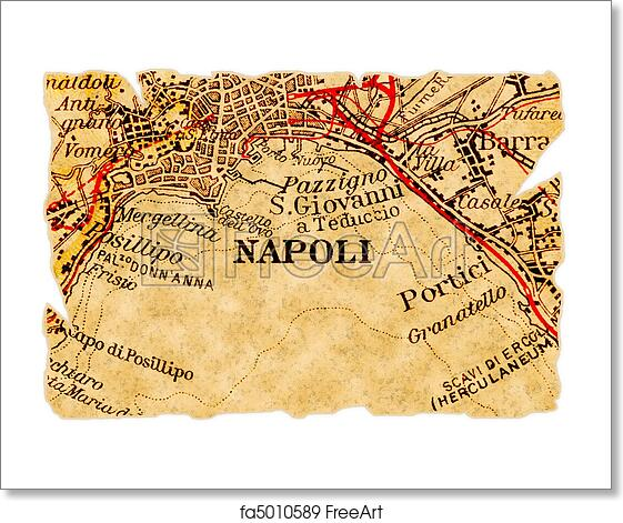 Free art print of Naples or Napoli old map