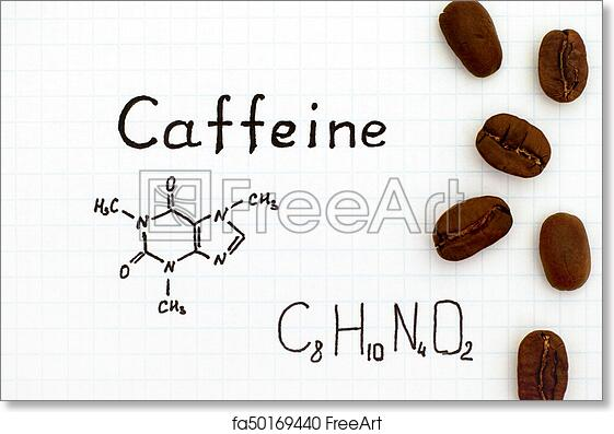 Free Art Print Of Chemical Formula Of Caffeine With Coffee Beans