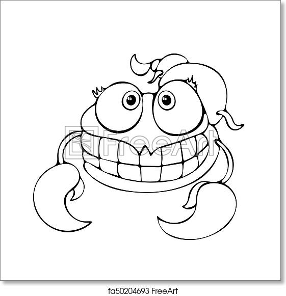 Free art print of Cartoon funny scorpion for coloring book isolated on  white background, vector black and white hand drawing, monochrome  illustration