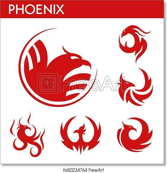 Free Art Print Of Phoenix Fire Bird Vector Template Icons Set