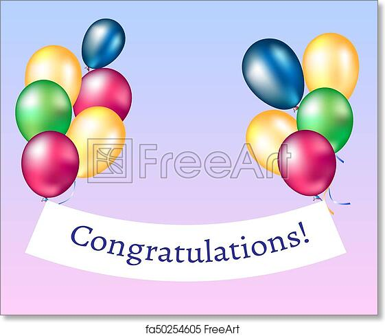 picture about Congratulations Banner Free Printable called Totally free artwork print of Congratulations Banner with Balloons.