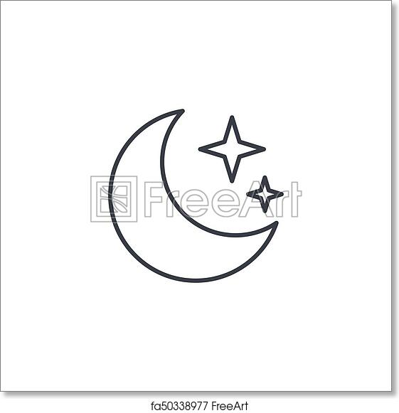 Free Art Print Of Night Moon And Star Thin Line Icon Linear Vector