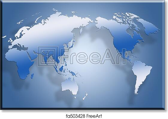 Free Art Print Of 3D Flat World Map