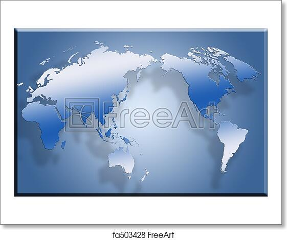Free Art Print Of D Flat World Map D Map Laid Out Flat Against - Flat globe map