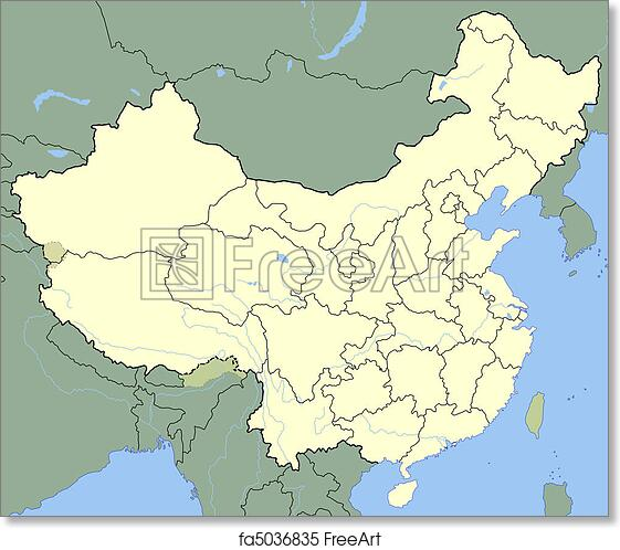 Free Art Print Of China Map Map Of China Showing States With