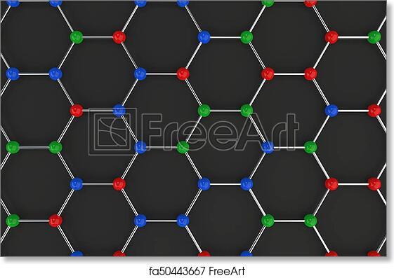 Free art print of Graphene atomic structure on black background
