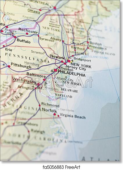 graphic relating to Printable Maps of Philadelphia known as Free of charge artwork print of Map of Philadelphia