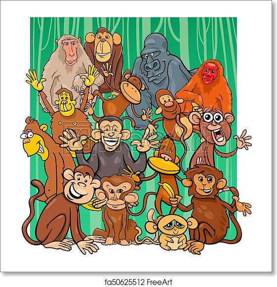 free art print of cartoon monkey characters group cartoon