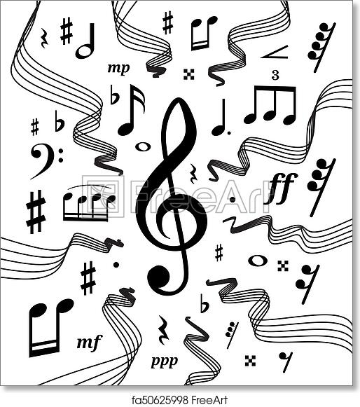 Free Art Print Of Musical Staves Illustration With Music Notes And
