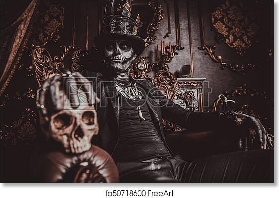 Free Art Print Of Day Of The Dead Symbol Halloween A Man With A