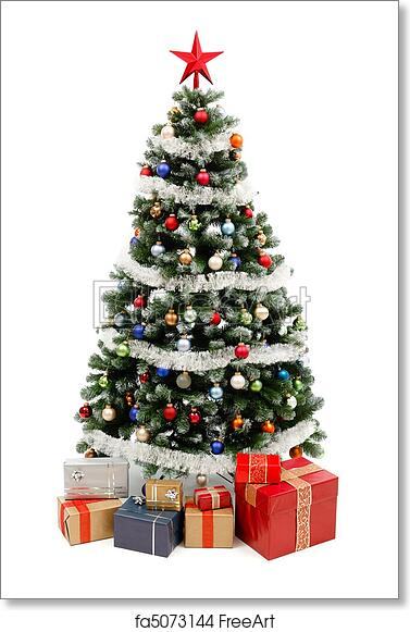 Christmas Tree With Presents.Free Art Print Of Christmas Tree On White With Presents
