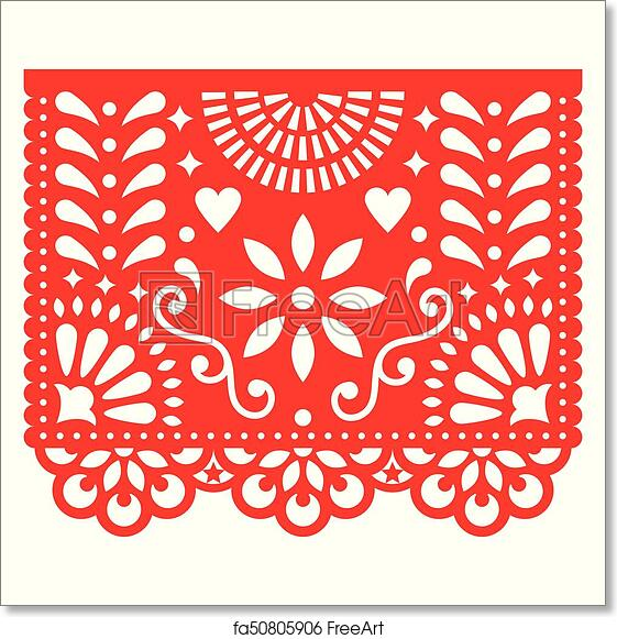 graphic regarding Papel Picado Template Printable identify Free of charge artwork print of Mexican paper decorations - Papel Picado vector structure, standard fiesta banner impressed by way of garlands inside Mexico