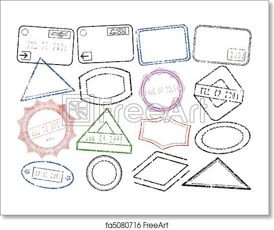 free art print of passport or post stamp set a set of different