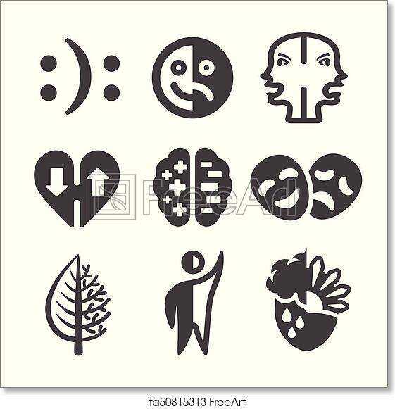 Free Art Print Of Bipolar Disorder Icon Bipolar Disorder Icon Set