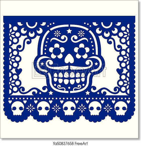 graphic relating to Papel Picado Template Printable named Cost-free artwork print of Mexican sugar skull vector paper decorations - Papel Picado style and design for Halloween, Dia de Los Muertos, Working day of the Lifeless