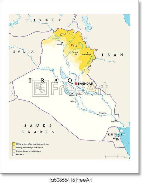 Free art print of Iraqi Kurdistan Region political map
