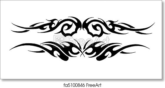 Free art print of Tattoo art, sketch of a black tribal bracelet