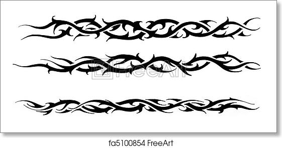 Free art print of Tattoo art, sketch of a black tribal bracelet