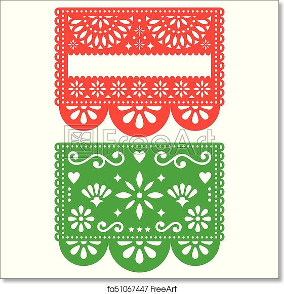 photograph regarding Papel Picado Printable known as No cost artwork print of Mexican Papel Picado vector template style and design fastened, cutout paper decorations bouquets and geometric designs, 2 occasion banners