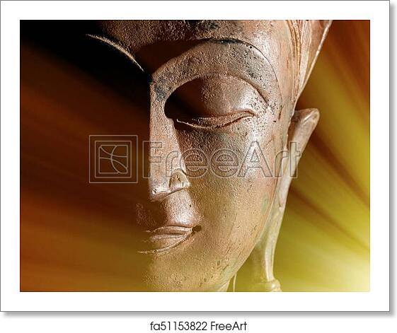 Free art print of Zen Buddhism  Divine light rays of spiritual  enlightenment or astral projection on buddha head statue