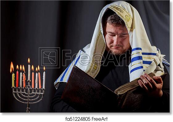 picture regarding Hanukkah Prayer Printable called Absolutely free artwork print of Jewish guy with beard lights the candles of a menorah