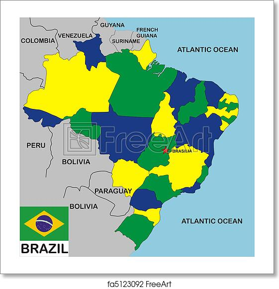 Free Art Print Of Brazil Map Political Map Of Brazil Country With