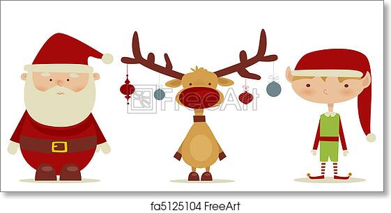 graphic about Santa Claus Printable Pictures referred to as Free of charge artwork print of Retro Santa claus, Elf, Rudolph