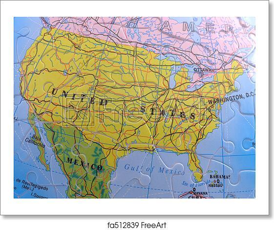 Free Art Print Of Globe Map Puzzle North America Spherical Globe