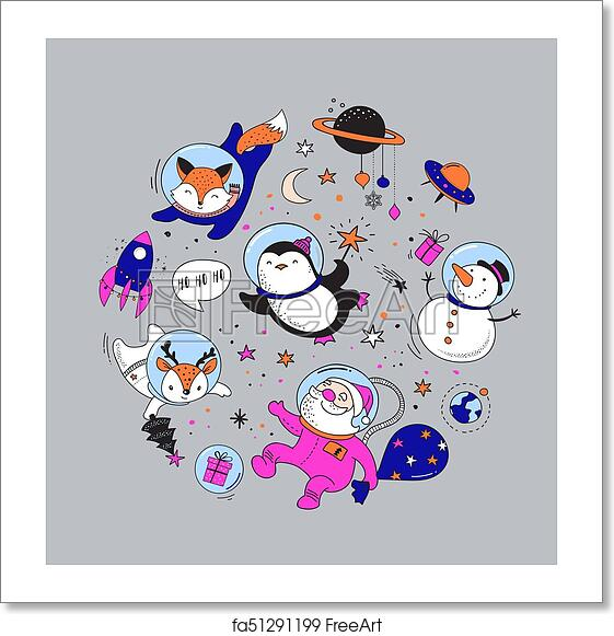 Christmas Illustrations.Free Art Print Of Merry Christmas Cosmic Xmas Space Winter Illustrations Santa Penguin Deer Fox And Space Ship