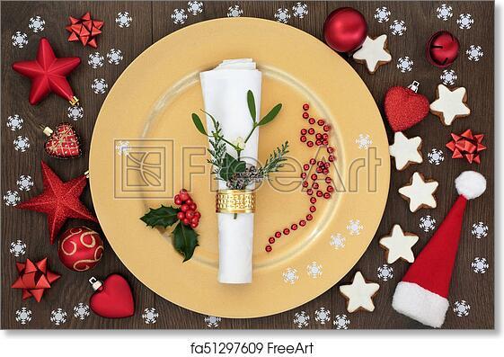 Free Art Print Of Christmas Dinner Table Setting Christmas Table