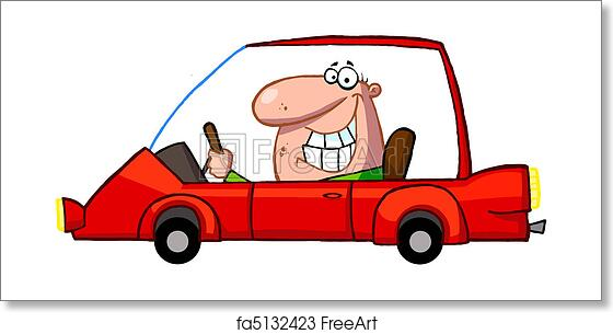 Free Art Print Of Grinning Guy Driving A Red Car Cartoon Character