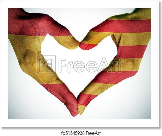 free art print of heart with the catalan and the spanish flags the