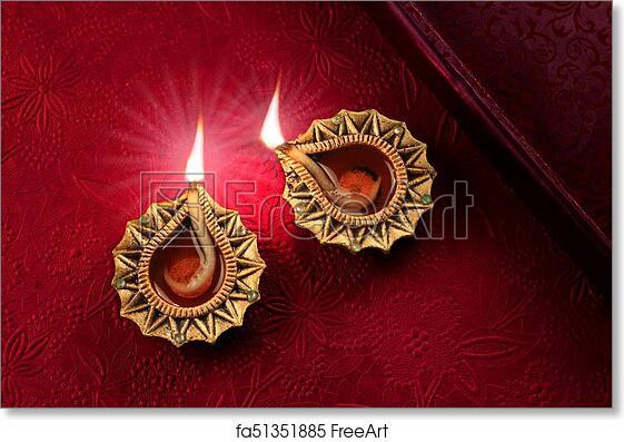Free art print of Beautiful Diwali Diya Lamp Lights