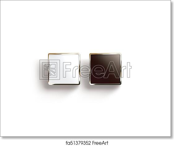 Blank Black And White Square Gold Lapel Badge Mock Up Top View 3d Rendering Empty Luxury Hard Enamel Pin Mockup Golden Clasp Design Template
