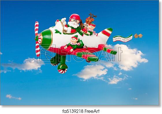free art print of flying santa claus with elves in airplane santa