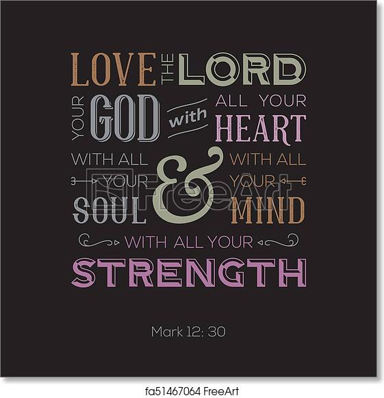 free art print of typography of bible quote for print or use as