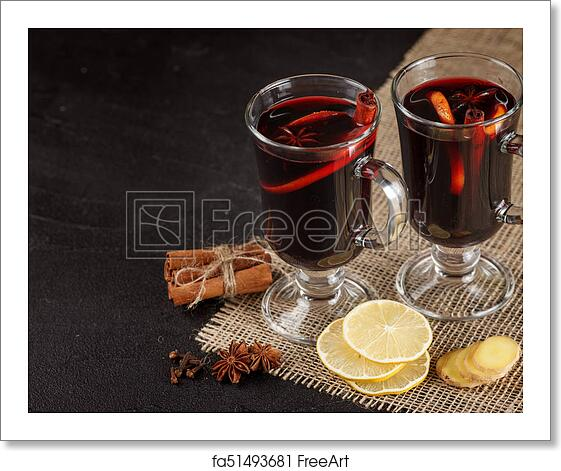 Free Art Print Of Mulled Wine Banner Glasses With Hot Red Wine And Spices On Dark Background Modern Dark Mood Style Freeart Fa51493681