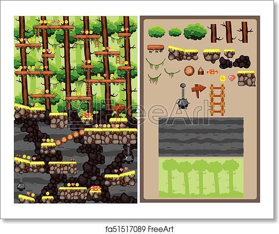 Free art print of Jungle Cartoon Platformer Game Tileset