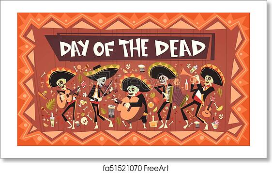Free Art Print Of Day Dead Traditional Mexican Halloween Dia De Los Muertos Holiday Party Decoration Banner Invitation