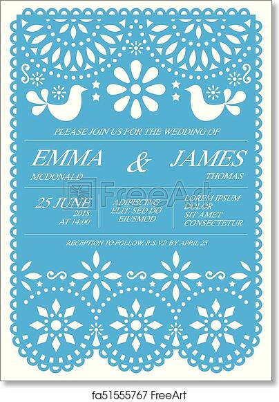 graphic about Papel Picado Template Printable identify Absolutely free artwork print of Wedding ceremony invitation vector card template - Mexican folks Papel Picado structure