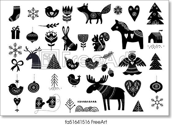 Christmas Illustrations.Free Art Print Of Christmas Illustrations Hand Drawn Elements In Scandinavian Style