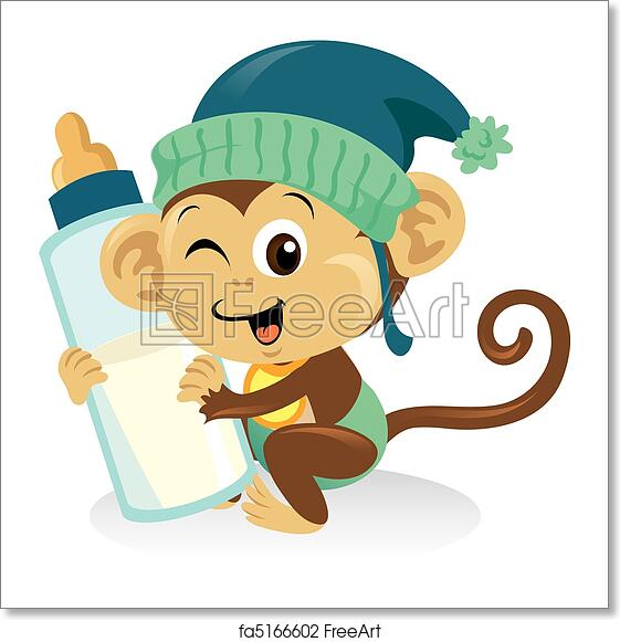 Free art print of Cute baby monkey holding a large milk bottle