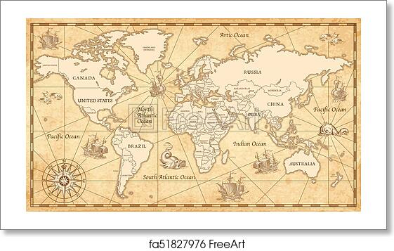 Free art print of Old Vintage World Map