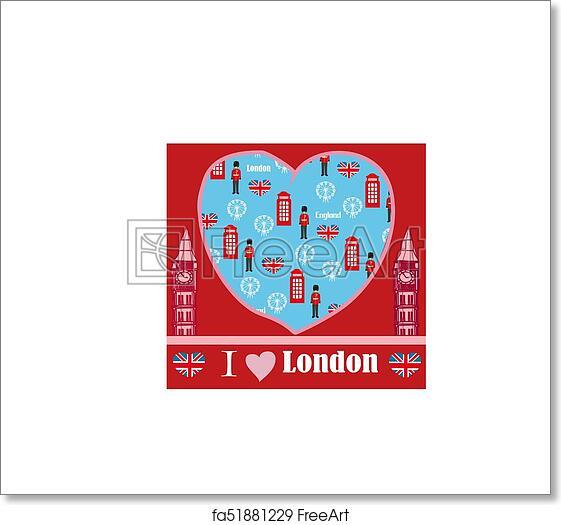 Free art print of London landmarks symbols card