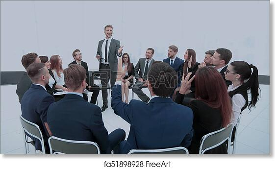 Free Art Print Of Smiling Boss With Pen In Hand, Sums Up The Business  Meeting With