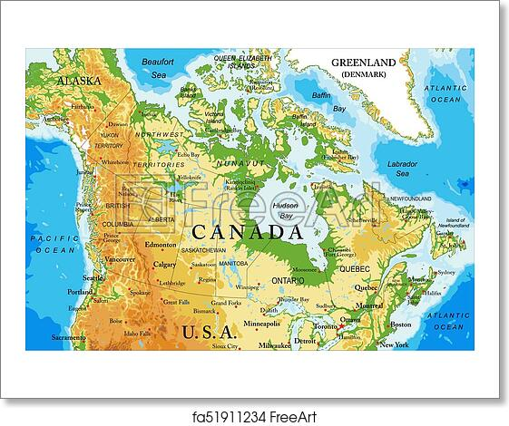 Free art print of Physical map of Canada. Highly detailed physical ...