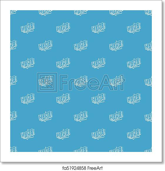 Free art print of HAHA, comic text sound effect pattern seamless blue