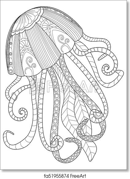 Free Art Print Of Jellyfish Coloring Raster For Adults