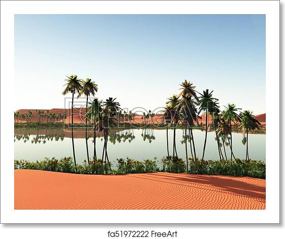 Free Art Print Of Beautiful Natural Background African Oasis 3d